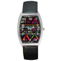 Cute Hipster Elephant Backgrounds Barrel Style Metal Watch