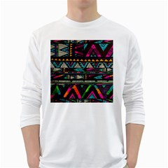 Cute Hipster Elephant Backgrounds White Long Sleeve T Shirts