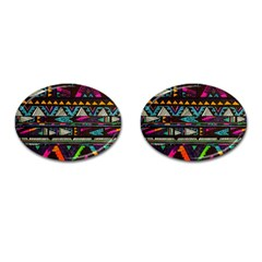 Cute Hipster Elephant Backgrounds Cufflinks (Oval)