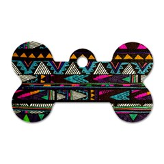 Cute Hipster Elephant Backgrounds Dog Tag Bone (Two Sides)