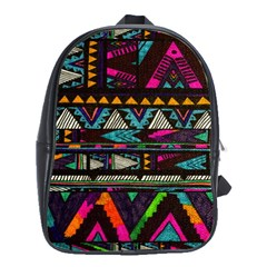 Cute Hipster Elephant Backgrounds School Bags(Large)
