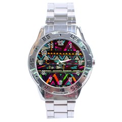Cute Hipster Elephant Backgrounds Stainless Steel Analogue Watch