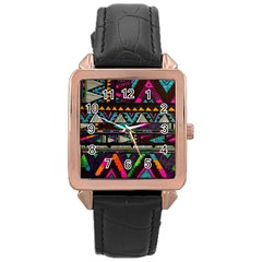Cute Hipster Elephant Backgrounds Rose Gold Leather Watch