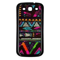 Cute Hipster Elephant Backgrounds Samsung Galaxy S3 Back Case (Black)