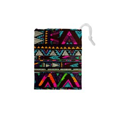 Cute Hipster Elephant Backgrounds Drawstring Pouches (XS)