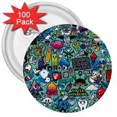 Comics 3  Buttons (100 Pack)