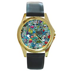 Comics Round Gold Metal Watch