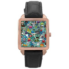 Comics Rose Gold Leather Watch