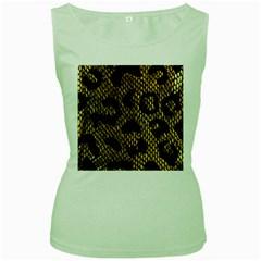 Metallic Snake Skin Pattern Women s Green Tank Top
