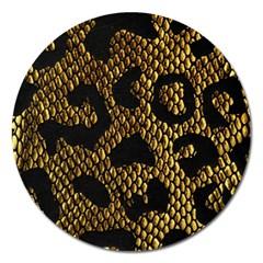 Metallic Snake Skin Pattern Magnet 5  (round)