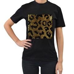 Metallic Snake Skin Pattern Women s T-Shirt (Black) (Two Sided)