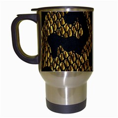 Metallic Snake Skin Pattern Travel Mugs (white)