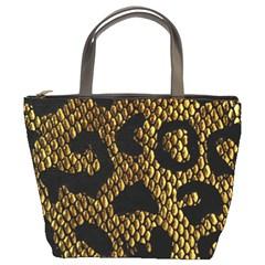 Metallic Snake Skin Pattern Bucket Bags
