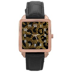 Metallic Snake Skin Pattern Rose Gold Leather Watch
