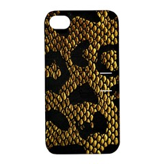 Metallic Snake Skin Pattern Apple Iphone 4/4s Hardshell Case With Stand