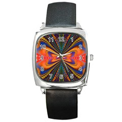 Casanova Abstract Art Colors Cool Druffix Flower Freaky Trippy Square Metal Watch