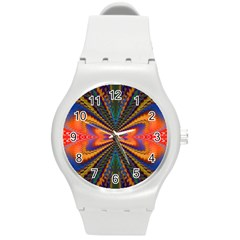 Casanova Abstract Art Colors Cool Druffix Flower Freaky Trippy Round Plastic Sport Watch (M)