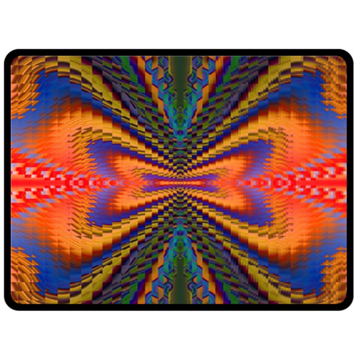 Casanova Abstract Art Colors Cool Druffix Flower Freaky Trippy Double Sided Fleece Blanket (Large)