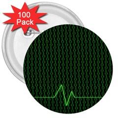 01 Numbers 3  Buttons (100 Pack)