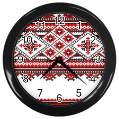Consecutive Knitting Patterns Vector Wall Clocks (black)