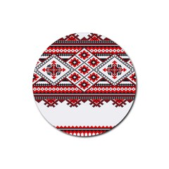 Consecutive Knitting Patterns Vector Rubber Round Coaster (4 Pack)