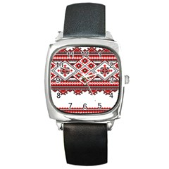 Consecutive Knitting Patterns Vector Square Metal Watch