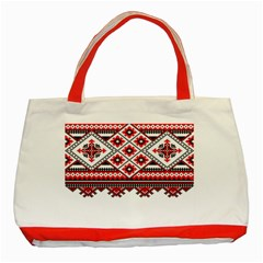 Consecutive Knitting Patterns Vector Classic Tote Bag (red)