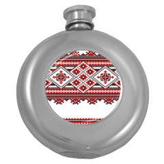 Consecutive Knitting Patterns Vector Round Hip Flask (5 Oz)