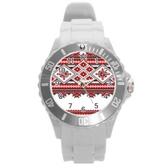 Consecutive Knitting Patterns Vector Round Plastic Sport Watch (L)