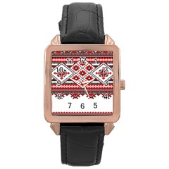 Consecutive Knitting Patterns Vector Rose Gold Leather Watch