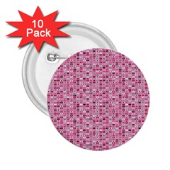 Abstract Pink Squares 2.25  Buttons (10 pack)