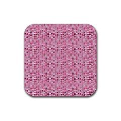 Abstract Pink Squares Rubber Coaster (square)