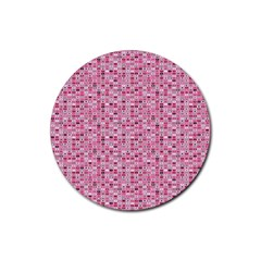 Abstract Pink Squares Rubber Coaster (Round)