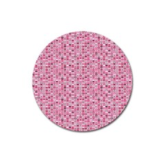 Abstract Pink Squares Magnet 3  (round)
