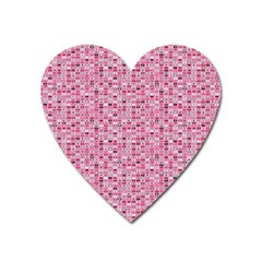 Abstract Pink Squares Heart Magnet