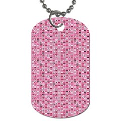 Abstract Pink Squares Dog Tag (two Sides)