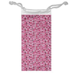 Abstract Pink Squares Jewelry Bag