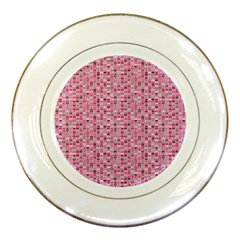 Abstract Pink Squares Porcelain Plates