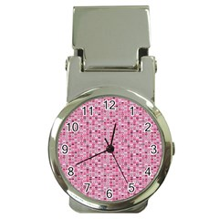 Abstract Pink Squares Money Clip Watches