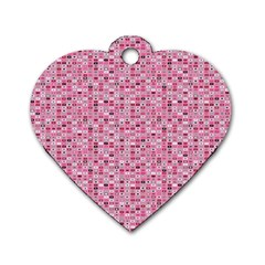 Abstract Pink Squares Dog Tag Heart (Two Sides)