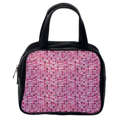 Abstract Pink Squares Classic Handbags (one Side)