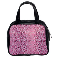 Abstract Pink Squares Classic Handbags (2 Sides)