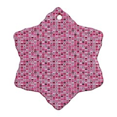 Abstract Pink Squares Snowflake Ornament (Two Sides)