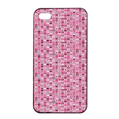 Abstract Pink Squares Apple Iphone 4/4s Seamless Case (black)