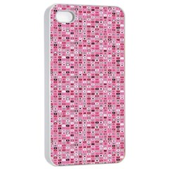 Abstract Pink Squares Apple iPhone 4/4s Seamless Case (White)