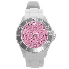 Abstract Pink Squares Round Plastic Sport Watch (L)
