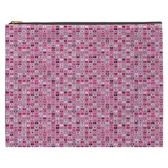 Abstract Pink Squares Cosmetic Bag (XXXL)