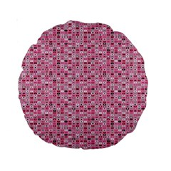 Abstract Pink Squares Standard 15  Premium Round Cushions
