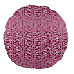 Abstract Pink Squares Large 18  Premium Round Cushions