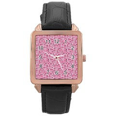 Abstract Pink Squares Rose Gold Leather Watch